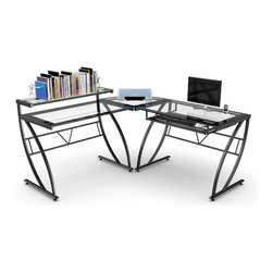 Z-Line Designs - Feliz Glass L-Shaped Computer Desk - This stylized computer corner desk has a glossy black metal finish. The desk features a raised monitor shelf for comfortable viewing. Clear glass desktops with black border are tempered for safety. The slide-out keyboard tray can be placed on either side and tucks away when not in use. Features: -Glass L-shaped desk.-Contemporary black glossy powder coat frame.-Clear tempered glass with black border for safety.-Raised monitor shelf for comfortable viewing.-Pullout keyboard tray with room for a mouse.-Spacious desktop workspace.-Reinforced plates on all welding joints for maximum strength and durability.-Desk Type: Computer Desk.-Top Finish: Clear.-Base Finish: Black glossy.-Accent Finish: Black glossy.-Powder Coated Finish: Yes.-Gloss Finish: Yes.-UV Finish: No.-Top Material: Glass.-Base Material: Metal.-Non-Toxic: Yes.-Water Resistant: No.-Stain Resistant: No.-Heat Resistant: No.-Style: Contemporary.-Design: L-Shape Desk.-Distressed: No.-Eco-Friendly: Yes.-Cable Management: No.-Keyboard Tray: Yes.-Height Adjustable: No.-Drawers Included: No.-Pencil Drawer: No.-Jewelry Tray: No.-Exterior Shelving: Yes -Number of Exterior Shelves: 1..-Cabinets Included: No.-Ergonomic Design: No.-Handedness: Both Left and Right.-Scratch Resistant: Yes.-Chair Included: No.-Legs Included: Yes -Number of Legs: 4.-Leg Material: Metal.-Leg Glides: No..-Casters Included: No.-Hutch Included: No.-Treadmill Included: No.-Modesty Panel: No.-CPU Storage: No.-Built In Outlet: No.-Built In Surge Protector: No.-Light Included: No.-Tipping Prevention: No.-Modular: No.-Lifestage: Kids,Teen,Adult.-Application: Home Office; Professional; Industrial.-Commercial Use: Yes.-Product Care: Wipe with soft cloth.-Weight Capacity: 96.45 lbs.-Recycled Content: No.Specifications: -FSC Certified: No.-EPP Certified: Yes.-CARB Compliant: Yes.-ISTA 3A Certified: Yes.-General Conformity Certificate: No.-Green Guard Certified: No.-ANSI BIFMA Certified: No.-SCS Certi