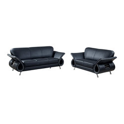 Global Furniture USA - U559 Black Top Grain Leather Three Piece Sofa Set - The U559 sofa set works with any decor and will have you relaxing in modern comfort. This sofa set comes upholstered in a beautiful black top grain leather in the front where your body touches. Carefully chosen match material is used on the back and sides where contact is minimal. High density foam is used within the cushions for added comfort. Each piece features a open curved arm design with steel accents that adds to the overall look of the sofa set. The sofa set includes a sofa, loveseat, and chair only.