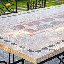 "TAMPA 78"" & 94"" MOSAIC MARBLE STONE GARDEN PATIO TABLE - Reference: OT955-20-US+OTB3-20-US"
