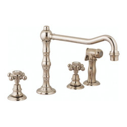 Harrington Brass Works - 4-Hole Kitchen Faucet Victorian Collection Harrington Brass - with swivel spout and hand spray
