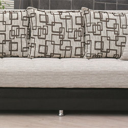 None - 'Wisconsin' Two-tone Traditional Sleeper Sofa Bed - This traditionally styled sofa bed is made with premium vinyl and quality brown fabric. A built-in storage compartment makes this sleek sofa bed great for tight spaces.