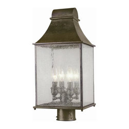 World Imports - Revere 4 Light Outdoor Post Mount Lantern in - Manufacturer SKU: WI6131706. Bulbs not included. Post not included. Water seedy glass panels. Durable steel construction. Bold, simple design that blends nicely with any home exterior. Flemish finish. Revere Collection. 4 Lights. Power: 60w. Type of bulb: Candelabra. Flemish finish. 8.5 in. W x 19.5 in. H (16.72 lbs.)