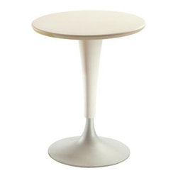 Dr. No Table by Kartell - The Dr. NO chair is combined with a round table, Dr. NA, proposed as a direct complement to the seat. The scratch-proof painted surface and tapered central leg made of plastic and aluminium let Dr. NA live separately with the small armchair to form an ideal dual concept.