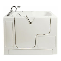 Ella's Bubbles - Wheelchair Access Dual Massage Bathtub in White with Left Drain/Door - The Ella Wheelchair Access Bathtub is designed to provide a safe and luxurious experience for wheelchair users to bathe comfortably in their homes. The bathtub shell is constructed of the highest grade fiberglass composite with a gel coat high gloss finish for beauty and durability. It is supported with a durable stainless steel frame. As with all of our durable high gloss finish gel coat walk in bathtubs, this bathtub includes an anti-slip floor, low step in threshold for easy entrance, an extension panel to fit into 60 in. opening, safety grab bar, 3 min. fast drain, and high quality 5 piece Traditional Fast Fill Roman Faucet set (10.5GPM @ 80PSI) including pull out hand shower. You can chose this bathtub in left or right hand side door and drain .This model is available in soaking, hydro massage, air massage or dual massage.