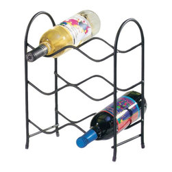 Spectrum Diversified Designs - Spectrum Metro 6 Bottle Wine Rack - 48210CAT - Shop for Wine Bottle Holders and Racks from Hayneedle.com! Storage and style come together in the Spectrum Metro 6 Bottle Wine Rack. Built with a cool design featuring wave-like shelves. Only 6 bottle size available. It's also compact in size which saves space on your counter or tabletop. Made from sturdy metal with a black finish. Dimensions: 6-bottle: 10.5W x 6.5D x 14.13H inches.