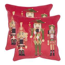 Safavieh - Decorative Nutcracker Pillows in Red - Set Of 2 - A seasonal tradition, the Nutcracker Suite ballet is celebrated in the set of two Nutcracker pillows crafted of polyester in the red colorway. These playful and plump pillows are great hostess gifts or the perfect accent to your holiday decor.
