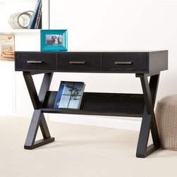 Southern Enterprises - Julian Desk - Features x-leg base, 3 drawers, and a display ledge. Black finish. Silver finish hardware. Constructed of oak, MDF, PB, and ash veneer. Assembly required. 42.75 in. W x 20 in. D x 30.25 in. H. Desk surface: 42.75 in. W x 18.75 in. D x 30.25 in. H. Drawers: 11.5 in. W x 14.5 in. D x 2.75 in. H. Display ledge: 33 in. W x 1 in. D x 8 in. H (angled). Max weight capacity: 60 lbs. This fashionable desk certainly puts the fun in functional. The modern design and convenient storage add up to a writing desk that really packs a punch. This desk features a black finish with subtle grain and silver drawer handles for a pop of contrast. The clean, linear design incorporates crisscrossed x-legs; the support bar beneath the desk offers additional storage or display space for items such as books or papers. This contemporary desk is the perfect addition to any home office, bedroom, or any spot where a stylish writing surface is needed. The design of this desk lends itself well to homes with transitional to modern styles.