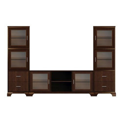 Howard Miller Custom - Owen Cabinet w 7 Shelves in Espresso - This cabinet is finished in Espresso on select Hardwoods and Veneers, with Nickel hardware. Console:. 2 doors with ribbed Glass. 3 adjustable interior shelves. Tower:. 4 doors with ribbed Glass and 4 flat panel drawers. 4 adjustable interior shelves. Flat profile top and cove profile base. Hardware: bar pulls on doors and drawers. Features soft-close doors, metal drawer glides, and metal shelf clips. Simple assembly required. Console: 70 1/4 in. W x 21 3/4 in. D x 29 in. H. 24 3/4 in. W x 15 3/4 in. D x 76 1/2 in. H