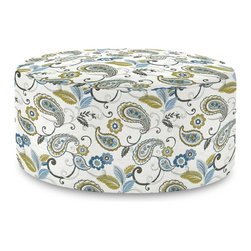 Howard Elliott - Paisley Lagoon Universal 36 Round Ottoman - The Universal 36 Round in Paisley is a great addition to any room. A traditional pattern in an updated color story. Their simple design makes them great to use as side tables, ottomans, alternate seating and more.