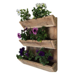 (del)Hutson Designs - Urban Acres 3-Tier Wall Planter - This planter is made from 100% reclaimed wood. It has 3 tiers. great to display flowers or herbs. There are no stains, or clear coating on this item. It is 100% natural and safe for plants and herbs.