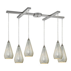 Elk Lighting - Elk Lighting 546-6SLV-CRC 6 Light Pendant in Satin Nickel w/ Silver Crackle - 6 Light Pendant in Satin Nickel w/ Silver Crackle belongs to Curvalo Collection by Elk Lighting Individuality Is What Defines This Exquisite Line Of Hand Blown Glass. Each Piece Is Meticulously Hand Blown With Up To Three Layers Of Uncompromising Beauty And Style.  Pendant (1)