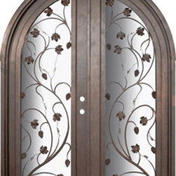 Vineyard 72x96 Wrought Iron Wine Room door 14 Gauge Steel - SKU# PHBFVNRTDR4 Interior Prehung Double Glazed Steel Insulated Tempered Glass Round Top Full Lite Panel Wind-load Rated Mediterranean Victorian Bay and Gable Plantation Cape Cod Gulf Coast Colonial