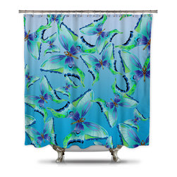 Shower Curtain HQ - Catherine Holcombe Pattern of Butterflies Fabric Shower Curtain, Extra Long - These butterflies were hand drawn and digitally colored to make this unique blue and green shower curtain. A portion of the sale goes back to California artist, Catherine Holcombe. This shower curtain is made in the USA. The fabric is a thick quality polyester.