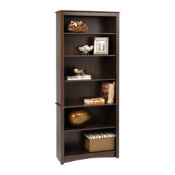 Prepac - Prepac Sonoma Espresso 77 Inch 6-Shelf Bookcase - Upscale and versatile, the 6-shelf bookcase is a great addition to your study, office or living room. Six shelves serve to organize books, picture frames, decorative accents and more. Group it with others to create a library wall for even more storage. With its attractive and adaptable design, it's an invaluable piece in any home.
