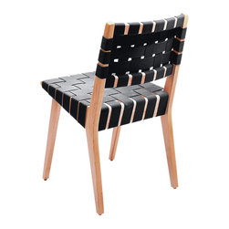 Knoll - Risom Side Chair - Dine in midcentury style and comfort. Wrapped in a comfortable woven upholstery, this slightly angled hardwood chair has a sensible Scandinavian design. This side chair looks good in any room and brings a fresh look and stylish seating to your modern dining room.