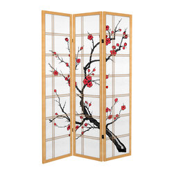 Oriental Furniture - 6 ft. Tall Canvas Cherry Blossom Room Divider - Natural - 3 Panels - Enjoy the beauty of cherry blossoms all year long with our new Canvas Cherry Blossom Room Divider! Printed to resemble a traditional shoji screen, this room divider is made of stretched canvas around a lightweight wooden frame. Durable and highly portable, this screen will add a classic Japanese element to the modern home or business.