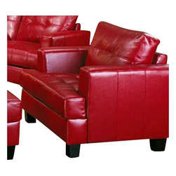 Coaster - Coaster Samuel Modern Tufted Chair in Red Bonded Leather - Coaster - Accent Chairs - 501833 - The Samuel group will give your contemporary living room a stylish update. The pieces are crafted of sophisticated bonded leather, over a solid hardwood frame with webbed backs and sinuous spring bases for support and durability. These pieces feature plush tufted attached back cushions, and deep t-cushions on the seat for cool comfort. Sleek track arms and square tapered wood legs complete the look. Available in These simple pieces are easy to blend with your home decor, and will help you create the comfortable contemporary style you desire.
