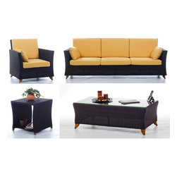 All Things Cedar - RATTAN wicker 8 Ft. SOFA PATIO SET w/ Yellow cushion - Our deep seating furniture offers plenty of room for entertaining or just a weekend of relaxing :  SET INCLUDES: SOFA ( 92w x 33d x 34h ) : ARM CHAIR ( 33w x 33d x 34h ) : COFFEE TABLE (47w x 27d x 16h)  : SIDE TABLE ( 20w x 20d x 20h )  6 Yellow Cushions for the Sofa plus 2 Side Pillows and 2 Yellow Cushions for the Arm Chair plus 1 Side Pillow