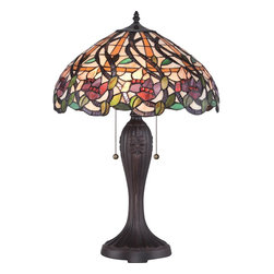 Quoizel - Quoizel Dark Bronze Lamps - SKU: TF1794T - The Wild Vines Tiffany table lamp is arranged in an assortment of vines and flowers that lend to its apt name. The shade features an abundance of different hues in orange, purple and green that are complimented by the dark bronze base.
