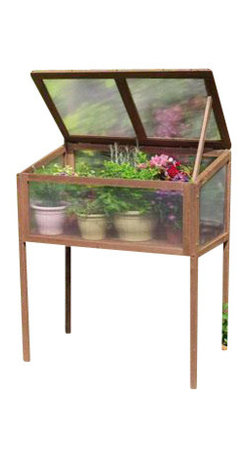 """Gardman USA - Raised Wooden Cold Frame - Raised Wooden Cold Frame - FSC Timber. 3'0"""" wide x 1'8"""" deep x 3'6"""" high. Large, rigid solid wood frame. Two slatted wooden shelves. Twin-wall Polycarbonate glazing. Hinged doors with latch bolt fastening. Hinged lid with locking stays for ventilation."""