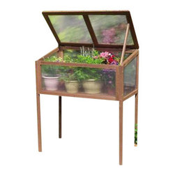 "Gardman USA - Raised Wooden Cold Frame - Raised Wooden Cold Frame - FSC Timber. 3'0"" wide x 1'8"" deep x 3'6"" high. Large, rigid solid wood frame. Two slatted wooden shelves. Twin-wall Polycarbonate glazing. Hinged doors with latch bolt fastening. Hinged lid with locking stays for ventilation."
