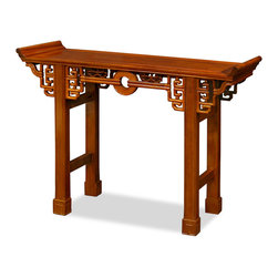"""China Furniture and Arts - Rosewood Antique Coin Design Table - Surrounded by intricately carved cloud design, an ancient coin takes the center of this altar-style display table. Suitable for displaying large vases and statues, the natural color of solid rosewood serves perfectly as the base. Constructed with traditional joinery technique for long lasting durability. The total height of the table with the altar wings is 32"""". The height from the table surface to the ground is 30"""". Imported."""