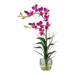 Dendrobium with Glass Vase Silk Flower Arrangement - Arching gracefully over natural stems and lifelike leaves, our Dendrobrium arrangement would be an elegant addition to any home or office decor. The whimsical orchid blooms skip along twining stems and create a gentle, refined design statement. A liquid illusion-filled glass vase perfectly finishes this beautiful arrangement. Height= 22 in x Width= 16 in x Depth= 8 in