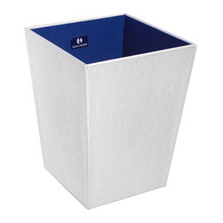 WS Bath Collections - Perle 2503SV Waste Basket in White - Perle 2503 by WS Bath Collections 9.1 x 9.1 x 11.8 Waste Basket, External Coating Synthetic Leather, Linen Synthetic Cloth, Structure in MDF Fibreboard