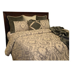 Marius Duvet Set, Ultra King - A Dark Gray abstract print on the light Ivory fabric. Decorated with ribbon.