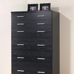 Tvilum - Vancouver Bedroom 8 Drawer Chest - Features: -Vancouver Bedroom collection. -Black woodgrain finish. -Contemporary style. -Melamine surface. -Eight drawers. -Metal hardware. -Weight limit for top shelf: 66.12 lb. -Clean with damp cloth. -ISTA 3A certified.