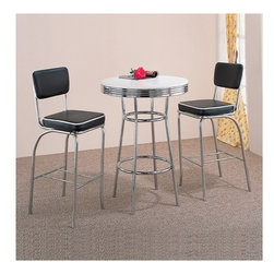 """Wildon Home � - Red Cliff Retro Bar Table in Chrome - Features: -Includes a table and optional set of 2 chairs. -Casual style. -Black or White finish tops with chrome accents. -Metal. -Chrome rimmed tops, legs, and pedestals. -Smooth finished tops with chrome trim. -Bar Table: 41.75"""" H x 30"""" W x 30"""" D."""