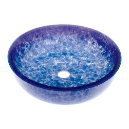 Renovators Supply - Vessel Sinks Blue/White Glass Crystal Fontain Vessel Sink - Glass Vessel Sinks: Double Layer Tempered glass sinks are five times stronger than glass, 3/4 inch thick, withstand up to 350 F degrees,  can resist moderate to high degrees of impact & are stain��_��__��_��__��_��__proof. Ready to install this package includes FREE 100% solid brass chrome-plated pop-up drain, FREE machined 100% solid brass chrome-plated mounting ring & silicone gasket. Measures 16 1/2 in. dia. x 4 1/2 in. deep x 3/4 in. thick.