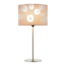 Adesso - Adesso Mystic Transitional Table Lamp X-22-3543 - The satin steel Mystic Table Lamp has a stick pole and flat round base. The double drum shade plays tricks on the eyes: the beige suede-like inner shade has stenciled square cut-outs through which the light shines onto and through the silk-covered translucent PVC outer shade. It has a three-way rotary switch and takes one 150 Watt incandescent or three-way CFL bulb.