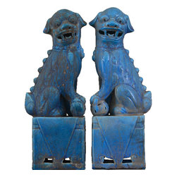 Oriental Danny - Foo Dog - Foo Dog(Foo Lion) is believed to guard against evil spirit. In China, Foo Dogs are placed in front of building to protect bad spirit going in. They are adorned for ages. This pair is made of porcelain in turquoise color. Sold as a set of 2.