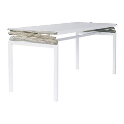 ecofirstart - Driftwood Table - Associated with the frost white enameled (water base) metal, integrated in simple and ultra contemporary lines, the driftwood reveals the force of its temperament and the beauty of its soul. Explore a collection of furniture and lighting fixtures in which driftwood forces simplicity and plays with contrasts.
