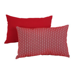 Pillow Perfect - Pillow Perfect 'Oval Dots' Red Throw Pillow - This red accent pillow by Perfect Pillow features white oval dots against a bright red background that creates a striking look perfect for a modern decor. The geometric pattern is one side of a polyester and cotton blend cover that is solid red on back.