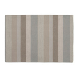 Soft Aqua & Tan Linen Stripe Custom Placemat Set - Is your table looking sad and lonely? Give it a boost with at set of Simple Placemats. Customizable in hundreds of fabrics, you're sure to find the perfect set for daily dining or that fancy shindig. We love it in this classic linen stripe in beachy tones of sand, aqua & taupe with a slight luxurious sheen.