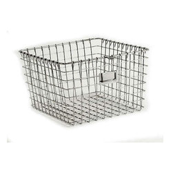 Medium Chrome Locker Basket - I can't get enough of mixing in the industrial look, even in a kids' space. These baskets would be great for collecting blocks, stuffed animals or any other little things that need collecting.