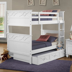 Homelegance - Homelegance Sanibel Twin over Twin Bunk Bed w/ Trundle in White - As breezy as a day at the beach, the modern cottage styling of the Sanibel Collection will meld effortlessly with your casual personal style. Diamond overlay curves throughout the entire collection - capping the headboard then carrying on to the gracefully bowed case pieces. The versatility of the design lends to the perfect placement in a master suite, guest or child's bedroom. The collection is offered in Black or White. - B2119W-BB-T.  Product features: Sanibel Collection ; White Finish ; Cottage Style ; Capping the headboard ; Offered in Black or White. Product includes: Slats (1) ; Top/ Bottom (1) ; Rails (1) ; Trundle/ Storage Unit (1). Twin over Twin Bunk Bed w/ Trundle in White belongs to Sanibel Collection by Homelegance.