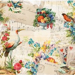 Memories Wall Mural - The Memories mural brings a vintage romance to decor inspired by love letters and antique valentines. Beautiful birds French postal stamps fruit flowers cards and type are layered over a musical score for a timeless enchantment.