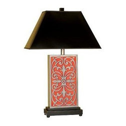 Mario Industries Splash Antique Scroll Ceramic Table Lamp - Coral - The color of sea jewels, the Mario Industries Splash Antique Scroll Ceramic Table Lamp - Coral brings a vintage charm to your lovely home. The elegant antique silver scrolled detail beautifully complements the coral ceramic base. A black parchment shade provides gorgeous contrast.