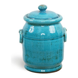 """French Blue Olive Jar 9"""" Tall - Our lovely miniature olive jars provide the perfect container for olives, nuts or any other food for which you desire attractive storage. Made of terracotta, this olive jar shines with a French blue glaze. The antique look of this olive jar means it will look right at home in your country kitchen but the vibrant color ensures it will lend an appealing pop of color to a kitchen with any décor style."""