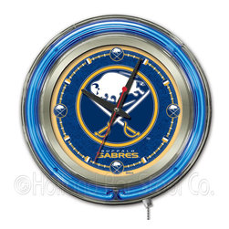Holland Bar Stool - Holland Bar Stool Clk15BufSab Buffalo Sabres Neon Clock - Clk15BufSab Buffalo Sabres Neon Clock belongs to NHL Collection by Holland Bar Stool Our neon-accented Logo Clocks are the perfect way to show your team pride. Chrome casing and a team specific neon ring accent a custom printed clock face, lit up by an brilliant white, inner neon ring. Neon ring is easily turned on and off with a pull chain on the bottom of the clock, saving you the hassle of plugging it in and unplugging it. Accurate quartz movement is powered by a single, AA battery (not included). Whether purchasing as a gift for a recent grad, sports superfan, or for yourself, you can take satisfaction knowing you're buying a clock that is proudly made by the Holland Bar Stool Company, Holland, MI. Clock (1)