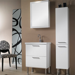 Iotti - 23 Inch Bathroom Vanity Set - A modest vanity set with ample storage, this modern design and long lasting construction is made for looks and years of service. The fitted sink above the vanity cabinet has just enough space for your toiletries. Double soft-closing drawers have easy access polished chrome handles. The two shelf medicine cabinet gives you a reversible, mirrored door that resists scratching and corrosion. Set comes complete with a matching vanity light. Available in Glossy White, Wenge, Gray Oak and Teak finishes. Imported from Italy. Set Includes: . Vanity Cabinet (2 drawers). Fitted ceramic sink (23.6 inch x 15.2 inch ). Medicine Cabinet (20.6 inch x 27.7 inch ). Vanity Light. Vanity Set Features:. Vanity cabinet made of engineered wood. Cabinet features waterproof panels. Available in Glossy White (as shown), Wenge, Gray Oak, Teak. Cabinet features 2 soft-closing drawers. Faucet not included. Vanity feet not included. Tall storage cabinet not included. Perfect for modern bathrooms. Made and designed in Italy. Includes manufacturer 5 year warranty.