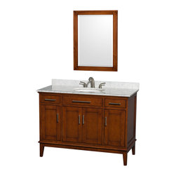 "Wyndham Collection - Hatton 48"" Light Chestnut Single Vanity w/ White Carrera Marble Top & Oval Sink - Bring a feeling of texture and depth to your bath with the gorgeous Hatton vanity series - hand finished in warm shades of Dark or Light Chestnut, with brushed chrome or optional antique bronze accents. A contemporary classic for the most discerning of customers. Available in multiple sizes and finishes."