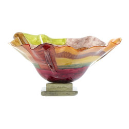 "Couleur - Signature Glass Bowl with Glass Base - Handcrafted by artisan glass blowers the Signature Glass Bowl with Glass Base is a wonderfully decorative and functional art glass accessory.  Because this is made of hand blown glass measurements are approximate - Each item will vary slightly in size and color.Specifications Dimensions: Are approximate because of the handmade nature of this product. (length x width x height) Overall: L 17"" x W 17"" x H 10"" (approximately)Made in: Mexico (MEX)  Style: Room: Living Room, Dining Room, OfficeUse: Decoration Only - Home Accent, Table Top Decor, Wall Decor, Shelf DecorIndoor / Outdoor: IndoorCare: Wipe clean with a soft damp cloth."