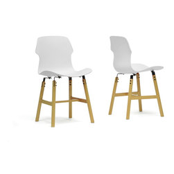 "Baxton Studio - Baxton Studio Voxx White Modern Dining Chair (Set of 2) - Inject a healthy dose of clean, contemporary design into your interior. Our Voxx Designer Dining Chair is just what the doctor ordered: a sleek white polypropylene plastic seat sits stylishly atop a beech wood base. Finishing touches include felt pads at the bottom of the legs as well as black steel supports that join the seat to the base. Made in China, the Voxx Chair requires assembly. Easily clean the chair by wiping its surfaces with a damp cloth. The Voxx Chair is also offered in red (sold separately).  Product dimension: 18""W x 19.87""D x 33.12""H, seat dimension: 18""W x 16.5""D x 18.37""H"