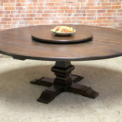 "80"" Large Round Table with Pedestal and Lazy Susan - Reclaimed Wood Tables are classic, family durable tables. These tables can be customized to look sleek or rustic but always are casually elegant. www.lakeandmountainhome.com 978-505-3222"