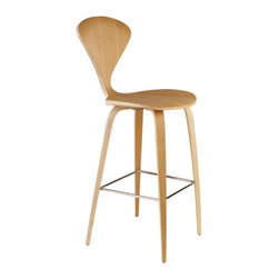 Nuevo Living - Satine Bar Stool, Natural Oak - Satine bar stool features a wood base and a seat that is made of laminated plywood of graduated thickness from 15 to 5 layers at the perimeter of the shell. The molded plywood counter stools, bar stools, and chairs have been seen in some stylish settings. The Satine bar stool is a perfect blend of comfort, originality and style.