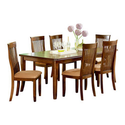 Steve Silver Furniture - Steve Silver Montreal 7-Piece Dining Room Set with Leaf - Set the mood for formal or casual dining depending on the occasion with the Montreal table from Steve Silver. in ash veneers and select hardwoods, this versatile table has superb corner-blocked construction with Tongue and groove joints. With the addition of the 18 Inch leaf you can comfortably set the table for six.